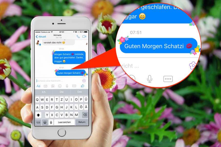 Mit der neuesten Version des Facebook Messengers können Sie Ihre Nachrichten mit Blumen schmücken - und das geht so: