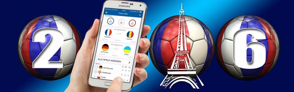 """Mit der aus deutscher Entwicklung stammenden App """"EM App 2016"""" von derTorAlarm GmbHhalten Sie ein Multifunktionsprogramm in Sachen Fußball-EM in Händen"""