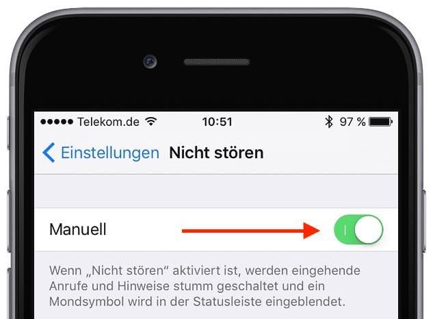 """Starten Sie die App """"Einstellungen"""", und tippen Sie auf """"Nicht stören"""". Aktivieren Sie den Schalter neben """"Manuell"""":"""