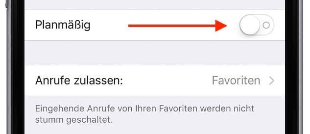 """Wenn Sie anonyme und unbekannte Anrufer dauerhaft auf Ihre Mailbox umleiten wollen und nicht nur stundenweise, dann deaktivieren Sie den Schalter neben """"Planmäßig"""" (unter iOS 8 """"Geplant"""")"""