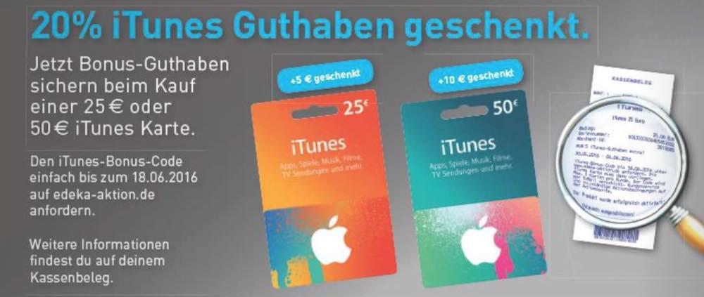 Von Montag, 20.05.2016, bis Samstag, 04.06.2016, schenken EDEKA und Marktkauf Ihnen beim Kauf einer 25 EUR und/oder 50 EUR- iTunes-Karte 20% Guthaben.