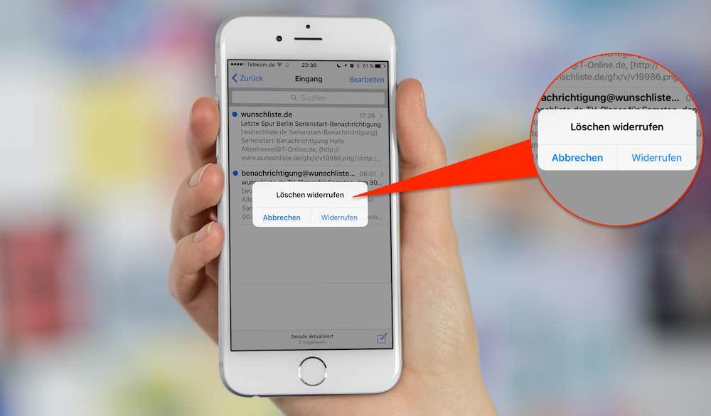 Mit einem ganz simplenTrick können Sie das Löschen einer E-Mail auf Ihrem iPhone widerrufen.
