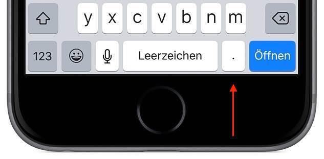 """Wenn die Endung der Domain """".de"""" heißt, dann drücken Sie auf die Taste """"Punkt"""" ..."""