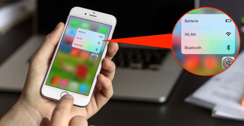 """Nutzer eines iPhone 6s bzw. 6s plus können die Peek und Pop-Funktion (""""3D Touch"""") nutzen, um WLAN oder Bluetooth einzuschalten bzw. auszuschalten."""