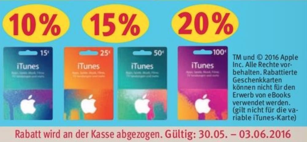 Bis zu 20% Rabatt auf iTunes-Karten bis zum 03.06.2016 - so werden Ihre Store-Einkäufe günstiger! Wir zeigen Ihnen immer alle Aktionen.
