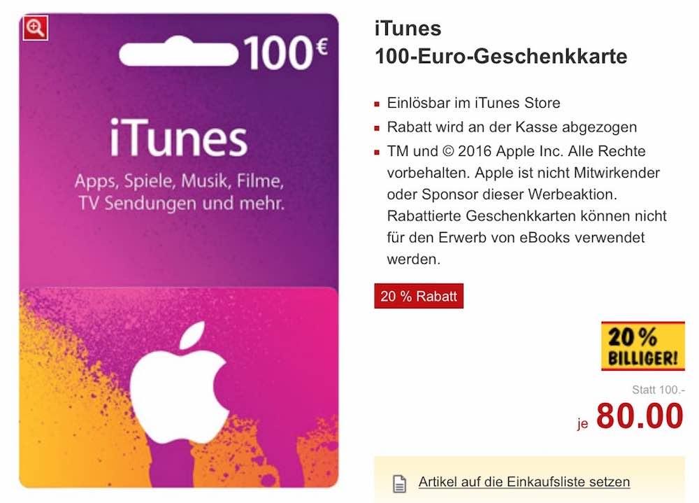Von Montag, 09.05.2016, bis Samstag, 14.05.2016 können Sie iTunes-Karten bei Kaufland mit bis zu 20% Rabatt kaufen: