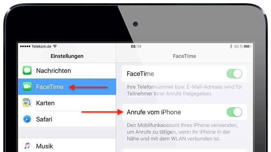 """Starten Sie am iPad die App """"Einstellungen"""", und tippen Sie auf """"FaceTime"""". Aktivieren Sie den Schalter neben """"Anrufe vom iPhone""""."""