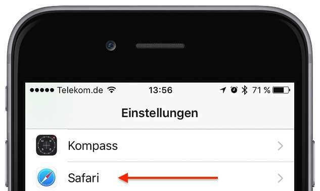 """Starten Sie die App """"Einstellungen"""", und tippen Sie auf """"Safari"""":"""