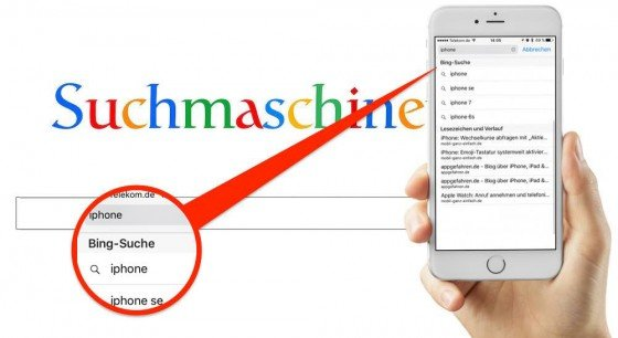 """Wir zeigen Ihnen, wie Sie imInternet-Browser """"Safari"""" am iPhone eine andere Suchmaschineeinstellen."""
