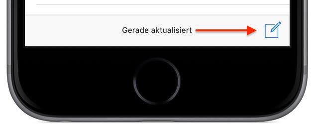 """Tippen Sie in der App """"Mail"""" auf Ihrem iPhone unten rechts auf das """"Neue Mail verfassen""""-Symbol:"""