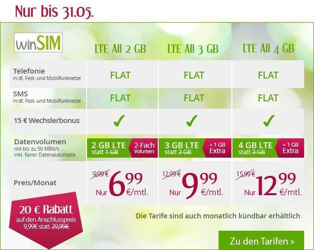 winSIM 3 GB LTE Daten Telefonie-Flat SMS-Flat