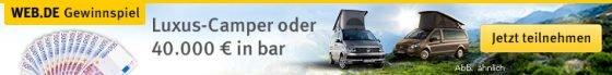 Attraktives Gewinnspiel von GMX.de und Web.de: Gewinnen Sie einen 40.000 EUR-Camper, oder lassen Sie sich den Gewinn in bar auszahlen.