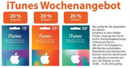 Drogerie Mueller iTunes Karten Rabatten