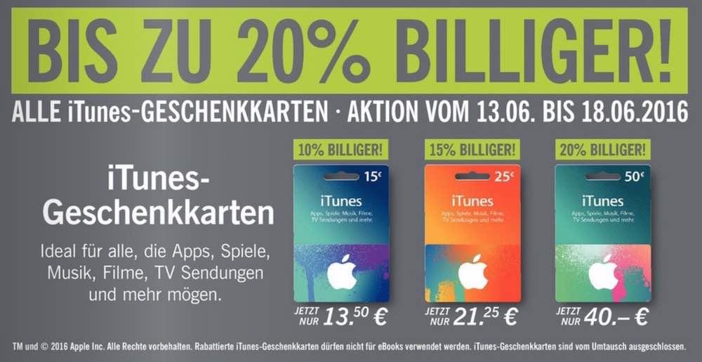 iTunes Karten Geschenkkarten Angebot Woche Prozent Rabatt guenstiger 2