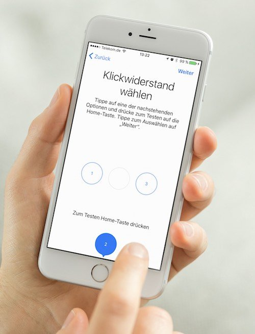 """Im Apple iPhone 7 gibt der neu konzipierte Homebutton ein spürbares """"Feedback"""". Sie können den iPhone 7-Klickwiderstand einstellen ... so geht's."""