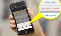 """Sowohl am iPhone 6s als auch am iPhone 7 von Apple können Sie mit einem festen Druck (""""3D-Touch"""") alle Tabs in Safari in einem einzigen Schritt schließen."""