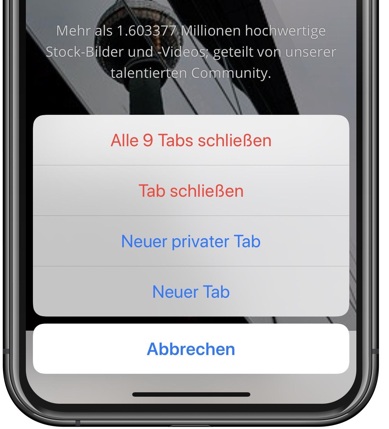 Mit nur einem Schritt können Sie alle offenen Safari-Tabs am iPhone schließen.