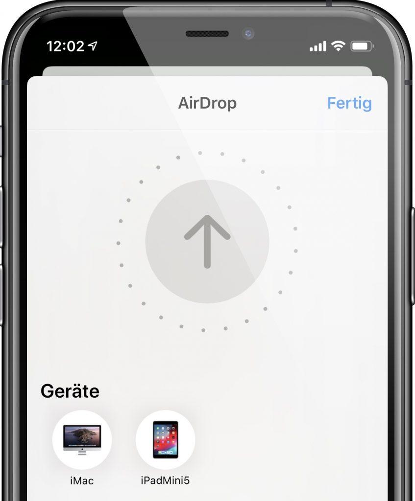 Fotos mit AirDrop von iPhone zu Mac oder iPad übertragen