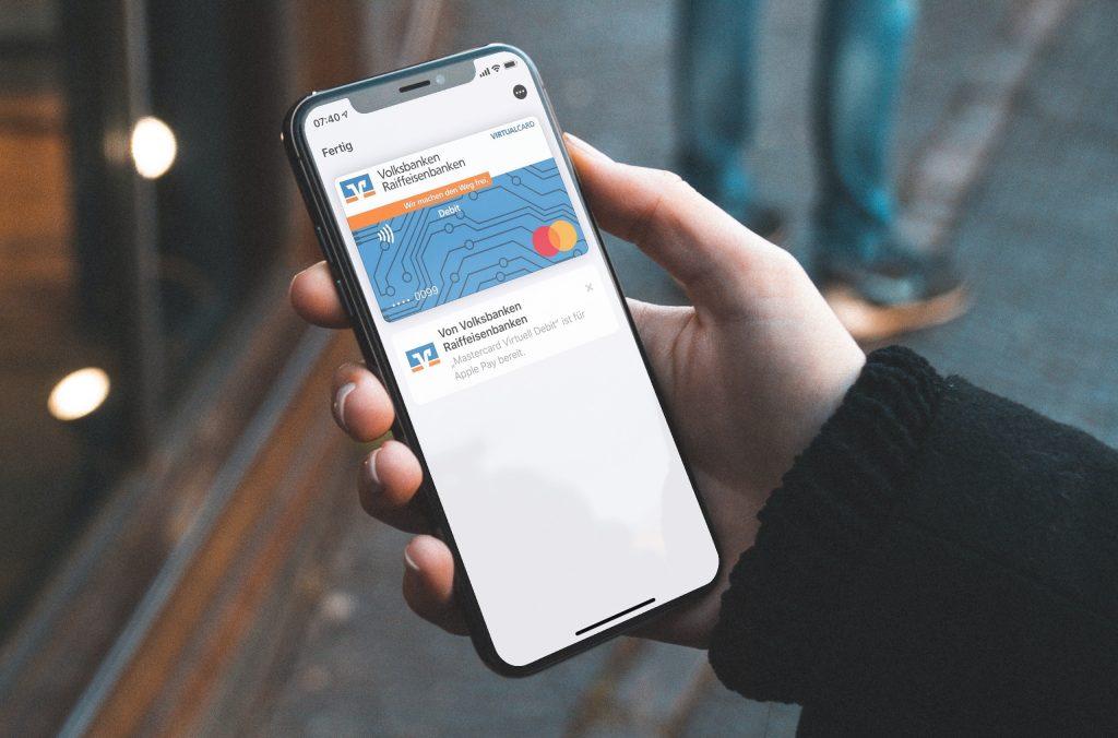 Auf dem iPhone: Virtuelle Mastercard Debitkarte von Volksbanken und Raiffeisenbanken für Apple Pay